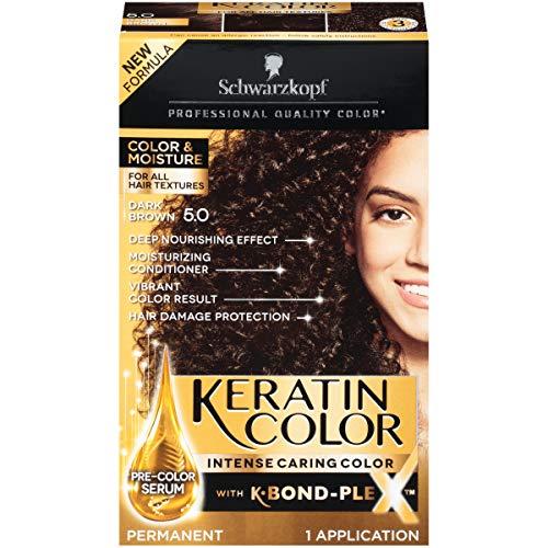Schwarzkopf Keratin Color, Color & Moisture Permanent Hair Color Cream, 5.0 Dark Brown