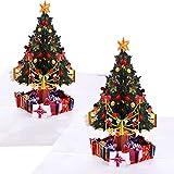 2 Pezzi Cartoline Biglietti d'Auguri di Natale con le Buste 3D Pop Up Albero Design Cartoline Regalo di Natale per Natale Vacanze Invernali, 5.9 per 5.9 Pollic
