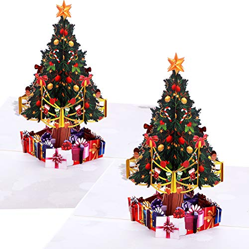 2 Pieces Christmas Greeting Cards with Envelopes 3D Pop Up Tree Design Christmas Cards Gift Cards for Christmas Winter Holiday, 5.9 by 5.9 inches