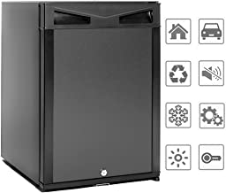 SMAD 12V Compact Mini Fridge Quiet No Noise Refrigerator with Lock 40L 1.4 cu.ft, Black