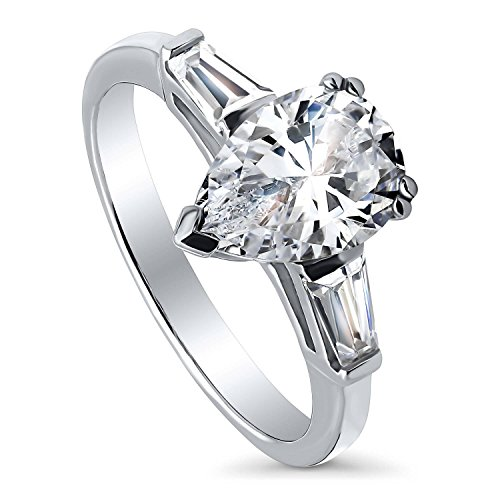 BERRICLE Rhodium Plated Sterling Silver Pear Cut Cubic Zirconia CZ 3-Stone Anniversary Promise Wedding Engagement Ring 2.3 CTW Size 6