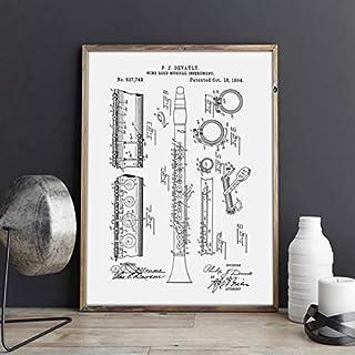 NOVELOVE Imagen de Arte de Pared Clarinete Blueprint Jazz Music Artwork Cartel HD Impresión Lienzo Pintura Regalo sin Marco 50 * 70 cm