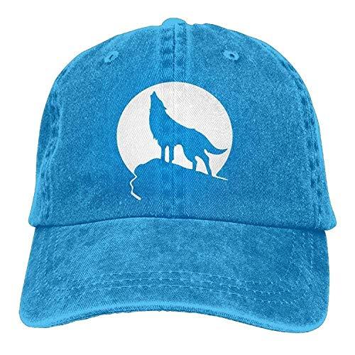 Hoswee Unisex Kappe/Baseballkappe, Howling Wolf Moon Logo Adult Cowboy Hat Baseball Cap Adjustable Athletic Design Summer Hat for Men and Women