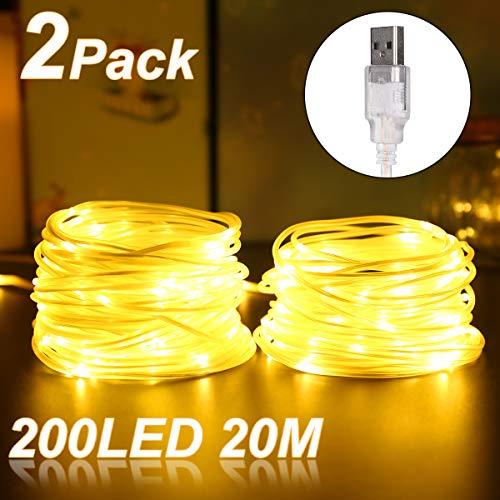 Stringa di Luci Esterno LED USB, ALED LIGHT 20m IP68 Impermeabili Catena Luminosa Luci Stringa 5V 200 LED Filo di Rame Luce Stringa Decorazione per Natale Feste Giardino Interni e Esterni Decorazioni