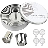 Round Cookie Biscuit Cutter Set for Baking - 12 Pieces Graduated Metal Dough Pastry Cutters for Donut, Fondant, Clay - Stainless Steel Circle Cutter Cake Ring Molds with 4 Cookie Stencils