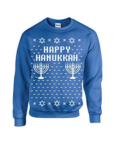 Happy Hanukkah Ugly Sweater Design CREW Sweatshirt - Large Royal Blue (ATA-B109)