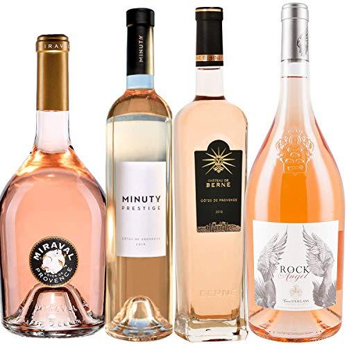 Best of Provence - Lot de 4 bouteilles - Prestige de Minuty - Miraval Jolie-Pitt - Château de Berne - Esclans Rock Angel - Côtes de Provence Rosé 2019 (4 * 75cl)