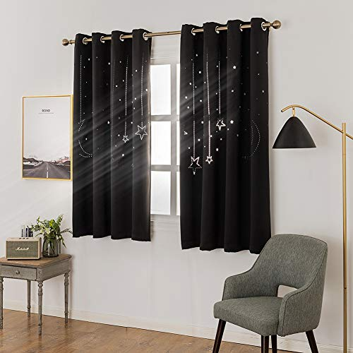 MANGATA CASA Kids Star Blackout Curtains Grommet Thermal 2 Panels for Bed Room,Cutout Galaxy Window Curtain Darkening Drapes for Nursery Living Room(Black 52x63in)