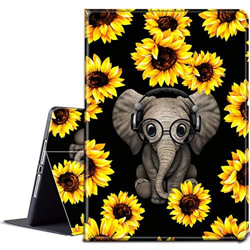 Funda para tablet Kindle Fire HD 10 (9ª/7ª/5ª generación, lanzamiento 2019/2017/2015), de piel sintética con función atril y función atril para Amazon Fire HD 10 (Elephant)