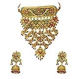 GemsOnClick Mujer chapado en oro-cobre redonda Ruby-Emerald-Pearl