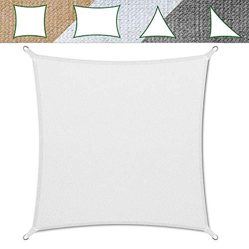 casa pura Sonnensegel für Garten, Terrasse & Balkon | wetterbeständig, UV-stabilisiert & atmungsaktiv | Sonnenschutz | Farbe Weiß, quadratisch 3x3m