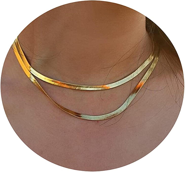 Tasiso 14K Gold Filled Herringbone Choker Necklace Set Double Layer Snake Chain Double Herringbone Chain Necklace Flat Snake Choker Necklace for Women