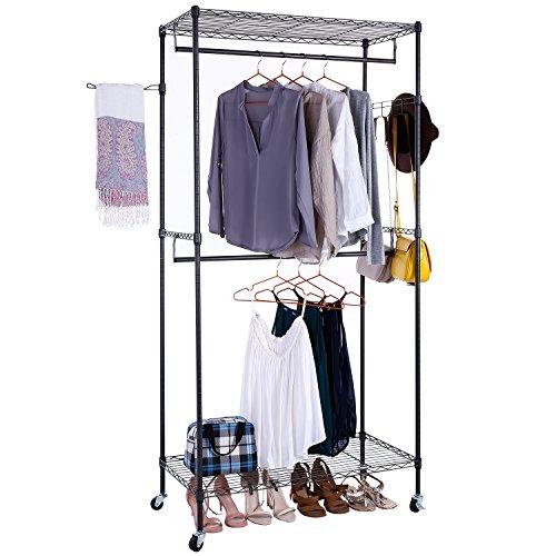 BATHWA Kleiderständer Garderobenständer Stabil Regalsystem Kleiderschrank mit 2 Ablagen Kleiderstangen, mit Seitenhaken für Taschen und Kleidungstücke aufhangen, 90 x 45 x 185 cm, Grau