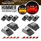 Partsam 10pcs 264160BK Smoke Cab Marker Top Roof Running Whole Assembly Set Chrome Lights + T10 Halogen Bulbs (5X Amber + 5X Red) Compatible with Hummer H2 SUV SUT 2003-2009