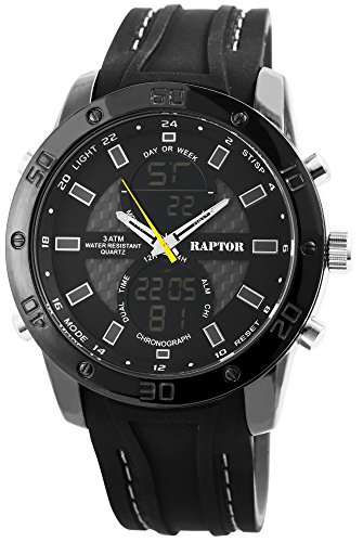 Raptor Herren-Uhr Analog-Digital Anzeige Quarzwerk mit Silikon Armband RA20034