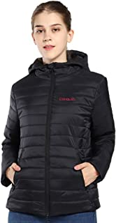CONQUECO Women's Heated Jacket Slim Fit Light Weight Down Jacket for Waterproof and Windproof with Battery Pack
