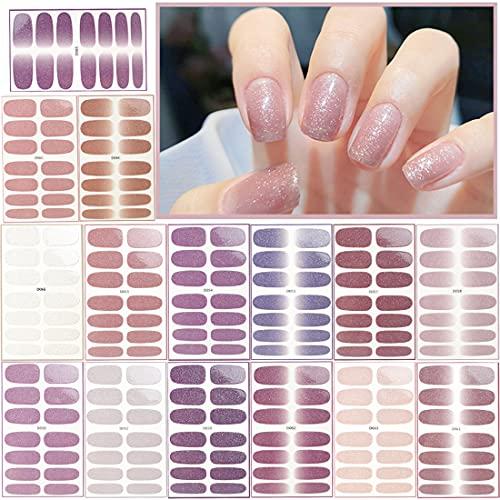 Smalto Adesivo per Unghie Caland 15 Fogli Adesivi Unghie Copertura Completa Smalto Adesivo per Unghie Nail Stickers Manicure Fai da te Decorazioni Strumenti
