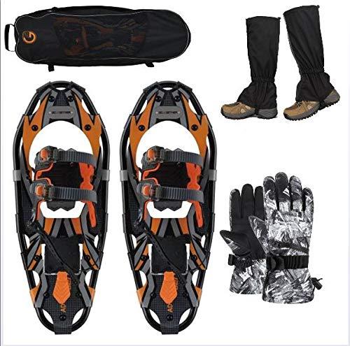 SqSYqz Schneeschuhe, leichte Schneeschuhe aus Aluminiumlegierung mit Skihandschuhen und Wasserdichten Gamaschen und Tragetasche (3 Größen),65 * 20CM