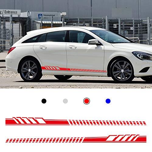 Auto Seitenstreifen Seitenaufkleber Aufkleber für Benz W205 Coupe C Class C63 AMG RT-852 Rennstreifen Racing Decals Viperstreifen Rot 2 Stück