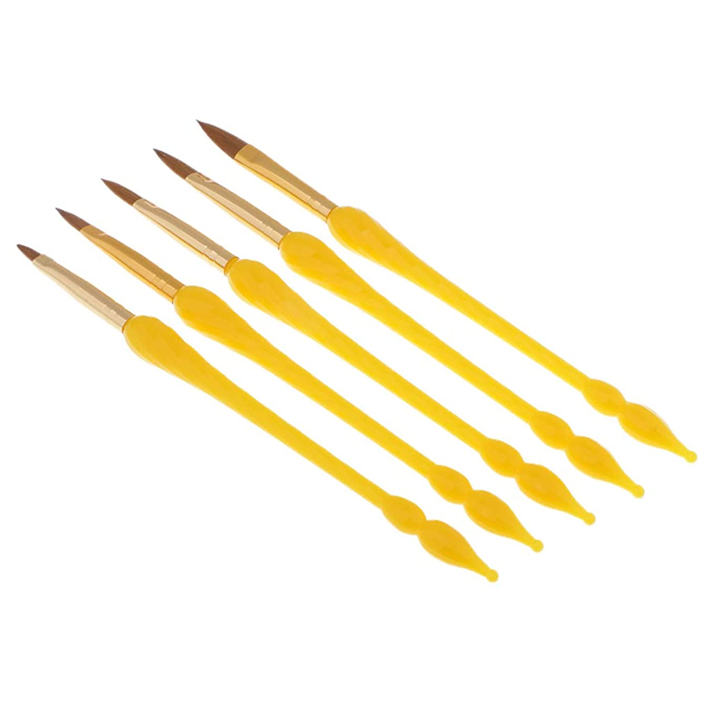 ベアリングサークル祖先連邦Perfeclan 5本 ネイルアートペン プロ ネイルアートブラシ UVジェル ポリッシュ ドローライナー ペイントペン 3色選べ - 黄