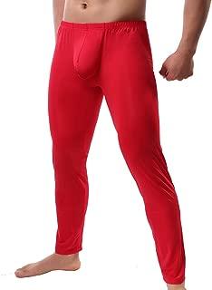 Mens Ice Silk Long Johns Leggings Tight Slim Pants Underwear Base Layer Bottom