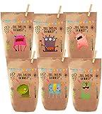 6 Bunte Monster Geschenktüten / Tüten liebevoll Bedruckt, Papier, zum Verpacken von Kinder Geschenken, Gast, Mitgebsel, Giveaways, Kindergeburtstag, Hochzeit, Party