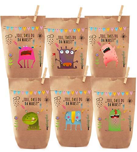 Paul´s Papierfabrik 6 Monster Geschenktüten, Tüten liebevoll Bedruckt, Papier, Kinder Geschenke, Gast, Mitgebsel, Giveaways, Kindergeburtstag, Hochzeit, Party