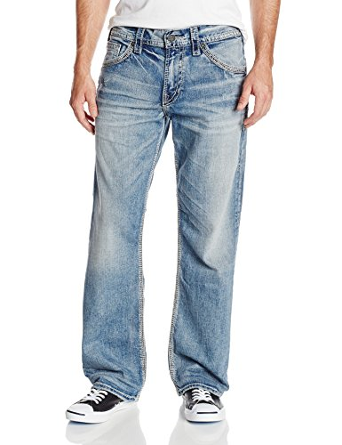 Silver Jeans Co. Mens Gordie Loose Fit Straight Leg, Light Indigo, 34x30
