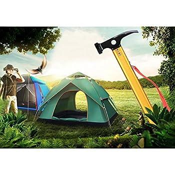 minifinker Marteau de Tente d'extracteur d'extracteur de Cheville Portable avec tête de Marteau et Crochet en Acier au Carbone pour Le Camping en Plein air(Gold, 12)
