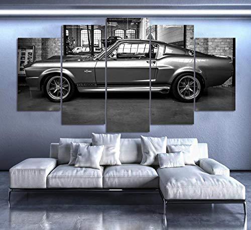 IIIUHU Bilder Abstrakt 5 Teilig Wandbild XXL Ford Mustang GT500 Eleanor Leinwand Bild Wandbilder Wohnzimmer Wohnung Kunstdrucke Modern Wandbilder Design Abstrakt Poster Wanddekoration