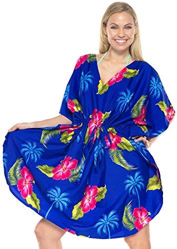 LA LEELA Frauen Damen Kaftan Tunika Gedruckt Kimono freie Größe kurz Midi Party Kleid für Loungewear Urlaub Nachtwäsche Strand jeden Tag Kleider Blau_N776 DE Größe: 42 (L) - 52 (4XL)