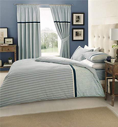 Homemaker  Blue stripe duvet set quilt cover & pillow cases classic striped bedding design (King)