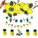 SUNBEAUTY Sommerfest Pary Dekoration Tropische Blätter Ananas Papagei Wabenball Flamingo Girlande