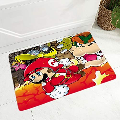 JSJJAWS Cute Pendant Key Chain Super Mario Doormat Super Soft Flannel Carpet for Kitchen Bedroom Non-Slip Decor Classic Game Colorful Cartoon Floor Door Mat gift (Color : 4, Size : 400mm x 600mm)