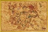 1art1 The Legend of Zelda Póster con Marco (Plástico) - El Aliento De La Naturaleza, Mapa De Hyrule (91 x 61cm)