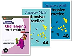 Singapore Math 3 Books Set for Grade 4 - Singapore Math Intensive Practice 4A & 4B, Challenging Word Problems Grade 4