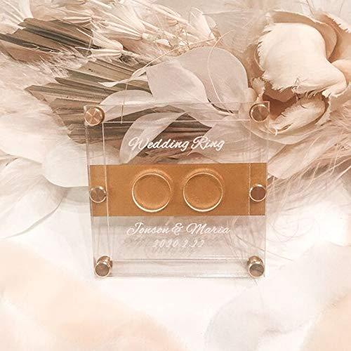リングピロークリアゴールド名入れ刻印ウェディング/結婚式/ウェルカムスペース/結婚証明書