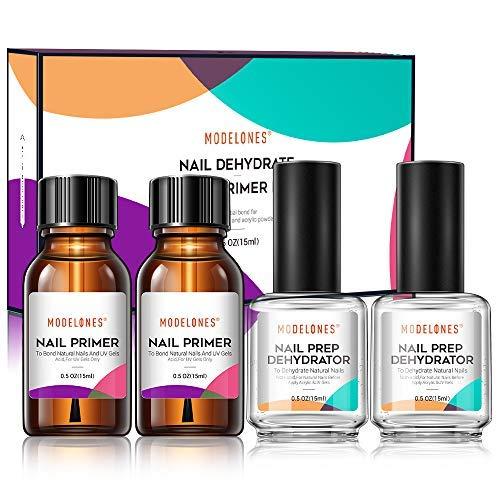 Modelones 2Pcs Nail Prep Dehydrate & 2Pcs Nail Bond Primer, Nail Protein Bond, Superior Bonding Primer for Acylic Powder and Gel Nail Polish 0.5 oz/Bottle