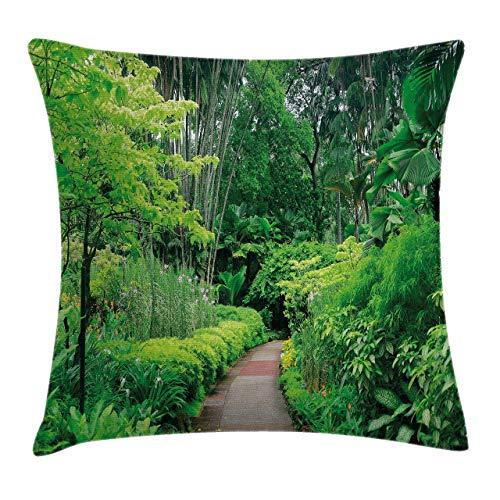 NA Forest Throw Pillow Cojín, Plantas Verdes, árboles en l