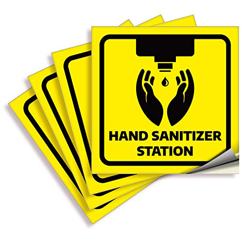 Hands Sanitizer Station Signs Stickers – 4 Pack 6x6 Inch – Yellow Premium Self-Adhesive Vinyl, Labels, Laminated for Ultimate UV, Weather, Scratch, Water and Fade Resistance, Indoor & Outdoor