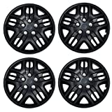 Tuningpros WC3-16-1025-B - Pack of 4 Hubcaps - 16-Inches Style Snap-On (Pop-On) Type Matte Black Wheel Covers Hub-caps