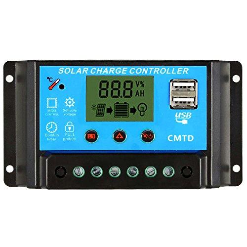 Anself PWM Solarlade Regler Solar Panel Batterie Regulator mit Dual USB 12.6V Lithium-Batterie Typ