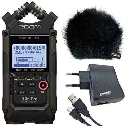 ZOOM H4n PRO Black Handy Recorder + keepdrum Zubehör-Set