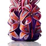 Große handgeschnitzte duftlose Kerze – Perfekte Heimdekoration oder Geschenk-Kerze für viele Gelegenheiten – Atemberaubende cremefarbene violette Farbe mit Perldekoren - 3
