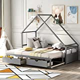Kids Extendable Daybed, Wood House Bed Frame with Drawers, Twin to King Design Sofa Bed for Girls Boys Teens Adults, Gray