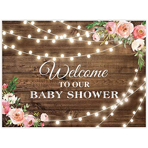 Allenjoy 8x6ft Rustic Floral Wooden Backdrop Wrinkle Free Baby Shower Bridal for Studio Photography Pictures Brown Wood Floor Flower Wall Background Newborn Birthday Party Banner Photo Shoot Booth