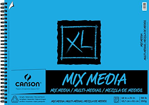 Canson XL Series Mix Paper Pad, Heavyweight, Fine Texture, Heavy Sizing for Wet and Dry Media, Side Wire Bound, 98 Pound, 18 x 24 in, 30 Sheets, 18'X24', 0