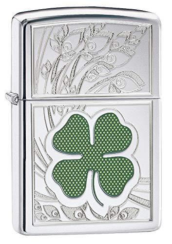 Imagen del productoZippo four leaf clover thumbprint lighter high polished cromo