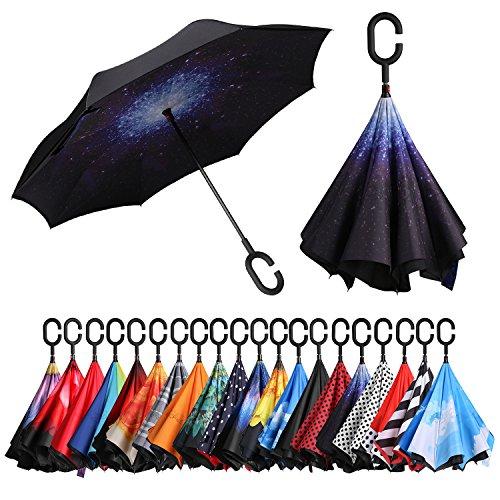 Eono by Amazon - Inverted Stockschirme, Winddicht Regenschirm, Reverse Stockschirme mit C Griff, Selbst Stehend, Double Layer, Schützen vor Sturm Wind, Regen und UV-Strahlung, Sternenklarer Himmel