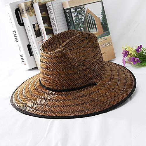 SHENLIJUAN 2019 Mujeres Verano de ala Ancha Sombrero de Paja Sombrero de Domo Sombrero de Sol al Aire Libre Sombrero de Salvavidas de Paja Tamaño 56-58 cm (Color : Café, tamaño : 56-58)